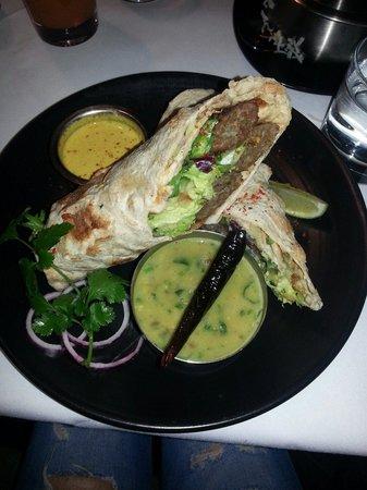Thali & Tandoor: Lamb sheesh kebab,  asked to be wrapped in naan