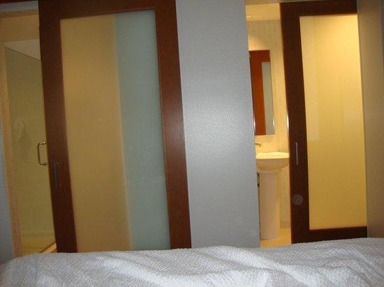 SpringHill Suites by Marriott Saginaw: pocket doors for bathroom/shower