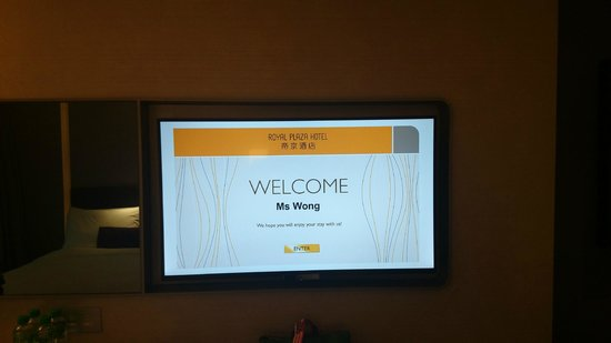 Royal Plaza Hotel: welcome message when you first turn on the tv