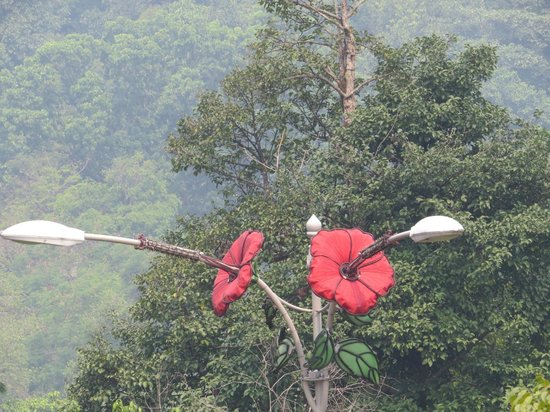 National Monument : Hibiscus - The National Flower of Malaysia on a streetlamp