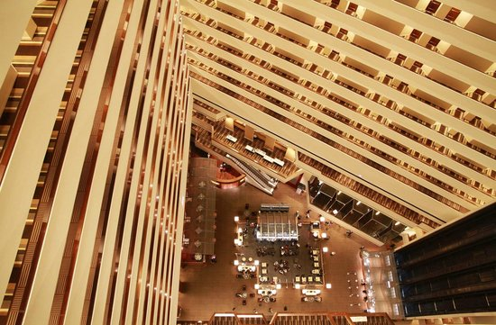 Hyatt Regency Houston : Impressive central atrium. Floor 30 (the top), looking down.