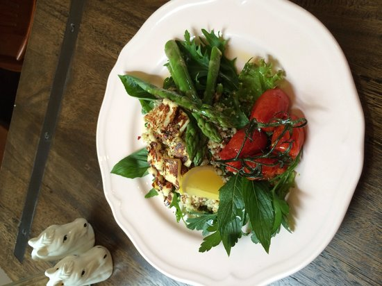 Oreades Cafe: Cous cous, quinoa & freekeh salad. Topped with grilled asparagus, haloumi, chilli, mint and lemo