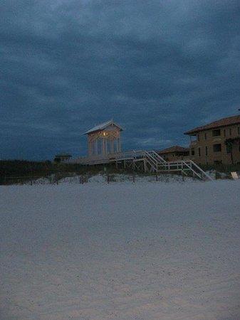 Carillon Beach: Beach walkover at sunset.