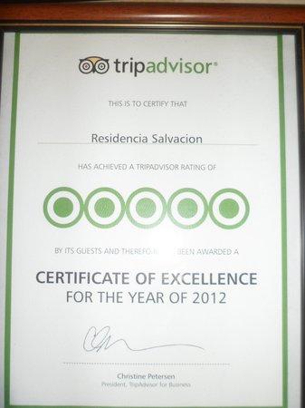 Residencia de Salvacion: TRIPADVISOR seal of excellence