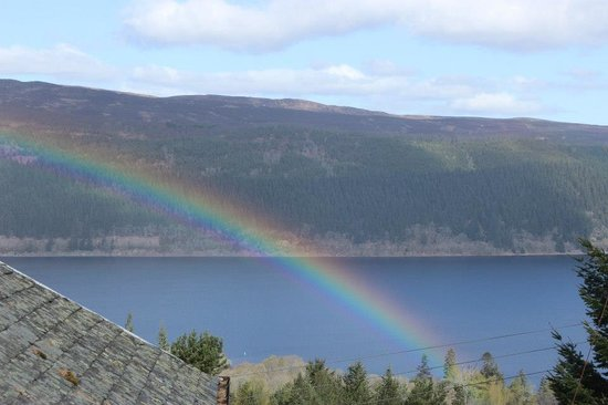 Foyers House: Early morning rainbow over the loch from the deck
