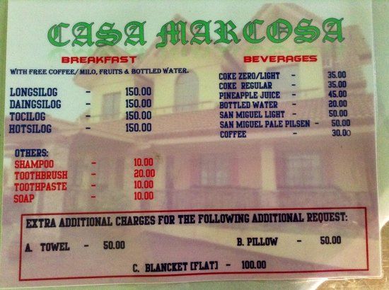 Casa Marcosa Bed & Breakfast: All Add-on Rates