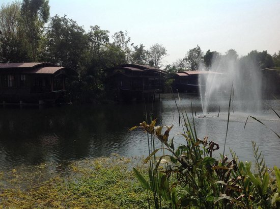 Mom Chailai River Retreat: View of Single decker houseboats and fountain
