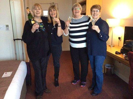 Jurys Inn: Cheers happy birthday Evelyn, Vivien and myself.