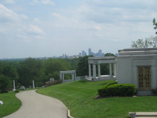 Crown Hill Cemetery: The hill to James Whitcomb Riley grave.  Indianapolis city view.