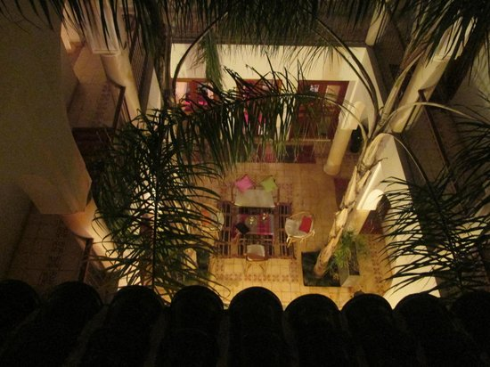 Riad Mariana: Looking down from terrace at night.