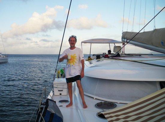 Tobago Cays: Sunrise coffee aboard Freedom