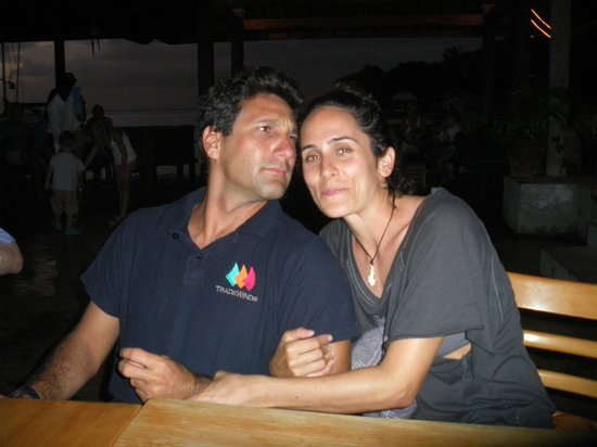 Tobago Cays: Captain Ilan and first mate Shani at Basil's on Mustique