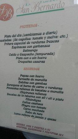 Taberna de San Bernardo: Menú Taberna San Bernardo