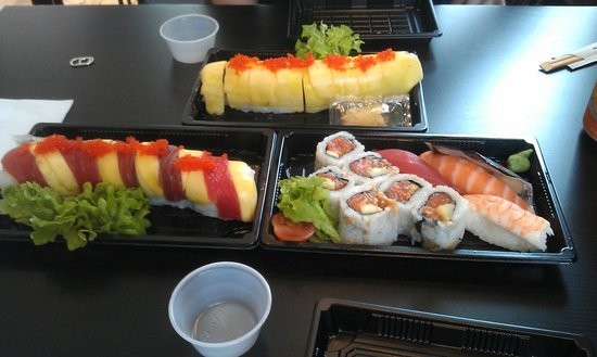 Sushi Point: Our dinner: passion roll, mango tango and a lunchbox