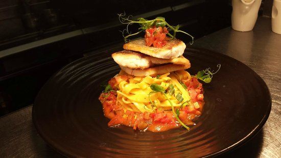 Brasserie On The Corner : Grilled seabass goats cheese sundried tomato and chilli noodles