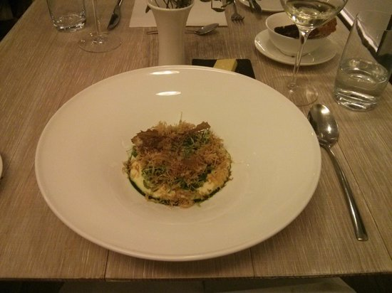 Chez Nico: Smoked mashed potatoes with fried cabage, a creamy egg yolk, and some greens