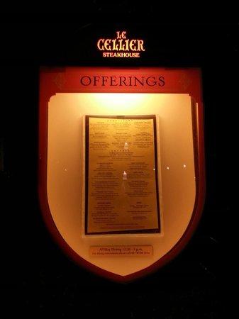 Le Cellier Steakhouse: The Menu
