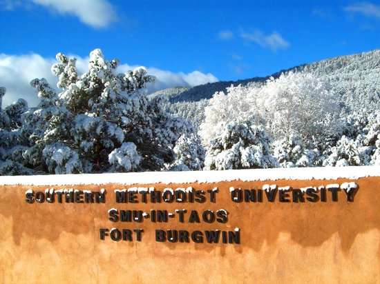 A view of the SMU-in-Taos campus in the winter
