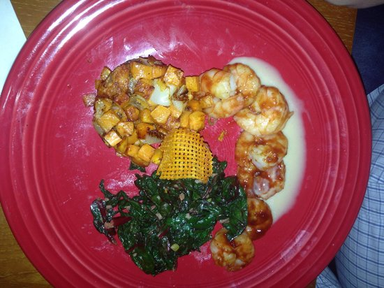 The Corner Kitchen: BBQ shrimp with sweet potato hash and greens. Wonderful!