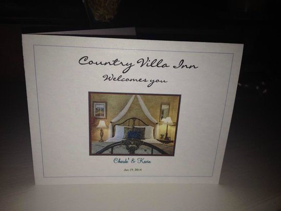 Country Villa B&B Inn & Day Spa : Personalized Welcome Card