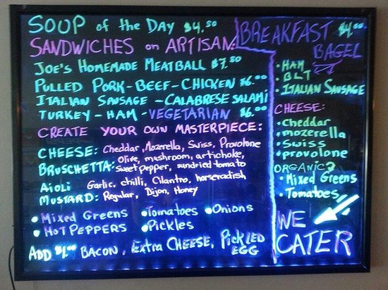 Joe's coffee & deli: The big board