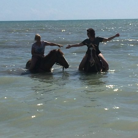 Coral Cove Resort: Riding on the beach with my mom