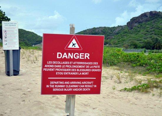 St. Jean Beach: danger sign