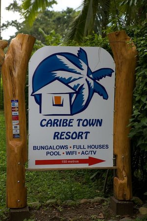 Caribe Town: The sign on the main road.