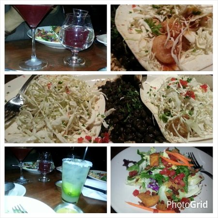 J Alexander's Restaurant: Pomegrante Martini, Elite Margarita and Shrimp Taco Platter