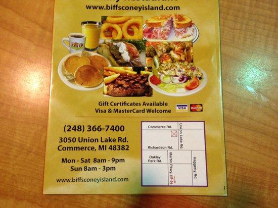 Biff S Coney Island Commerce Mi Menu