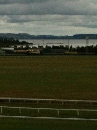 Rydges Rotorua: View from balcony and spa room over race course and Lake Rotorua