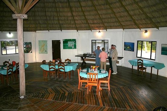 "Oceanic Society Field Station: The inside of the ""palapa"" which serves as a communal dining and lounge area"