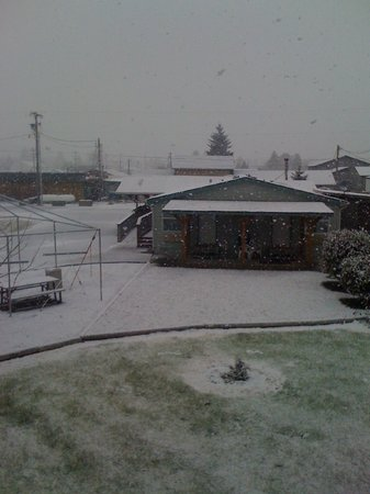 The Dew Drop Inn Motel: Yes it snowed and it was pretty!