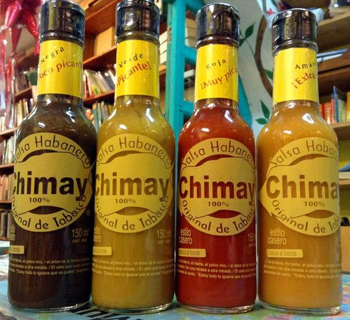 Alma Libre Bookstore : Gourmet items too! This is the best hot sauce in Mexico. 4 flavours to choose from.