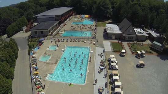 Strawberry Park Resort: aerial view of recreation area