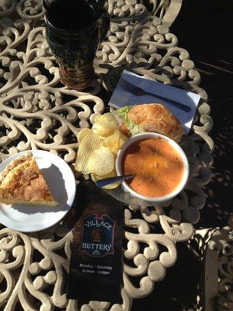 Village Buttery: Soup & Sandwich Combo.  A Dessert Slice of Buttermilk Pie