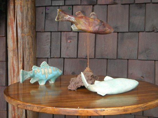 Timpson Creek Gallery has unique finds like these ceramic trout
