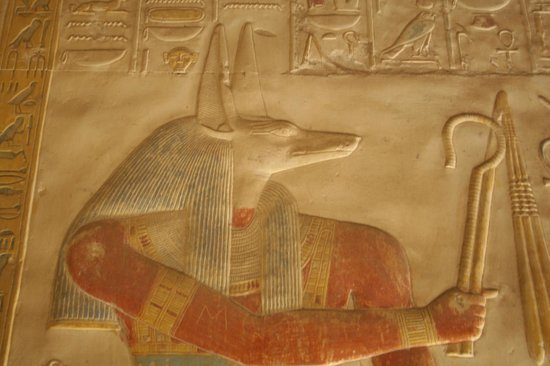 Abydos: Bas relief of Anubis, temple of Seti I