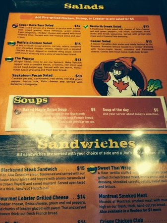 Some of the menu options Joe Beeverz Bar & Grill  |  20 - 1300 18th Street, Brandon, Manitoba