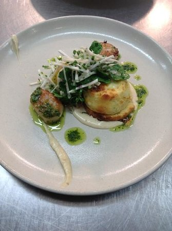 Sprout Dining: Seared Scallops with Teleggio Souffle