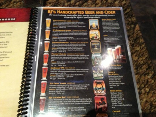 Bjs Beer Menu  Picture Of BjS Restaurant  Brewhouse Santa Rosa