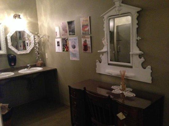 Lady of the Lake Shop, Cafe & Pub: Ladies bathroom!  So nicely decorated! Lady of the Lake Cafe & Pub  |  135 17th St N, Brandon, M