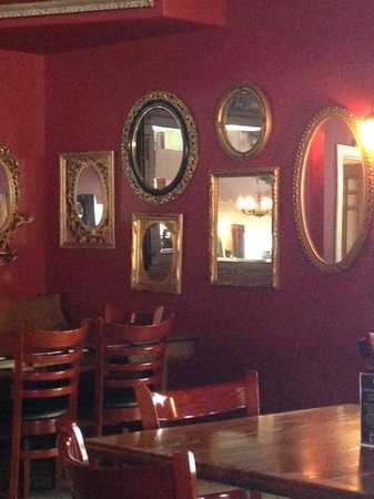 Lady of the Lake Shop, Cafe & Pub: Wonderful collection of mirrors gracing a back wall, Lady of the Lake Cafe & Pub  |  135 17th St