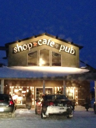 Lady of the Lake Shop, Cafe & Pub: Exterior on a winter evening, Lady of the Lake Cafe & Pub  |  135 17th St N, Brandon, Manitoba