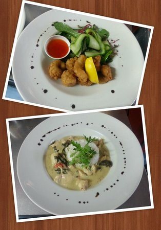 Coffee Plus cafe: Delicious salt and pepper squid & Thai chicken curry