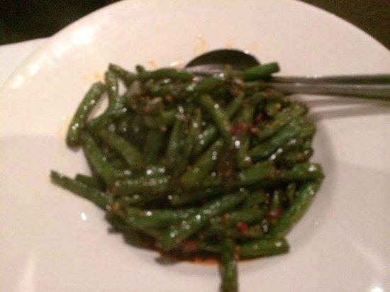 Szechuan Garden: Beans with chilli.