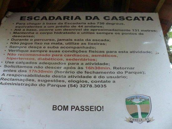 Parque Estadual do Caracol: Placa