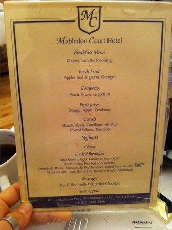 Mabledon Court Hotel: Menù colazione al 01/2014