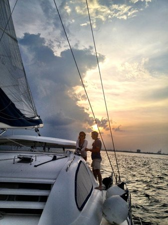 Om Sailing Charters: Personal instruction from the Captain on how to tack the boat.