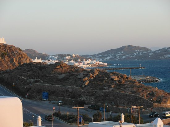 Studios Avra: View to Mykonos town from our balcony